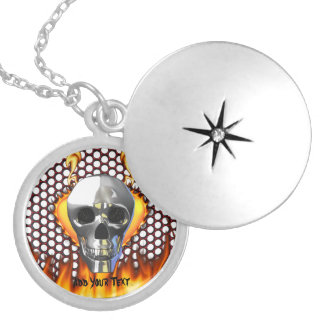 Chrome skull design 4 with fire round locket necklace
