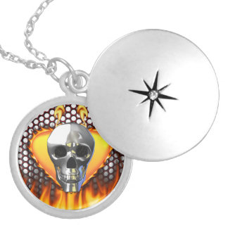 Chrome Skull Fire and Flames Round Locket Necklace
