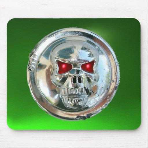 CHROME SKULL , Green Emerald Mouse Pad