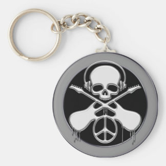 CHROME SKULL, GUITAR AND PEACE SIGN BASIC ROUND BUTTON KEYCHAIN
