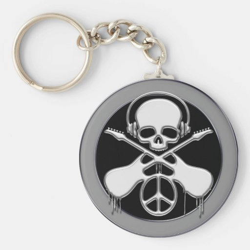 CHROME SKULL, GUITAR AND PEACE SIGN KEYCHAIN