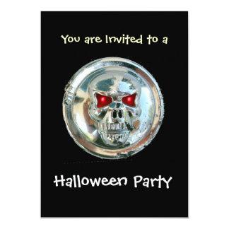 CHROME SKULL HALLOWEEN PARTY CARD