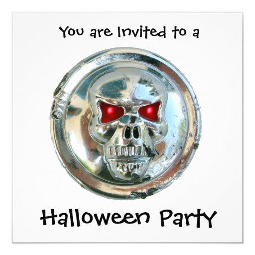 CHROME SKULL HALLOWEEN PARTY 5.25X5.25 SQUARE PAPER INVITATION CARD