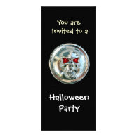 CHROME SKULL HALLOWEEN PARTY PERSONALIZED INVITE