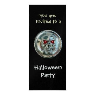 CHROME SKULL HALLOWEEN PARTY Silver Metallic Card