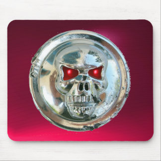 CHROME SKULL , Red Pink Ruby Mouse Pad