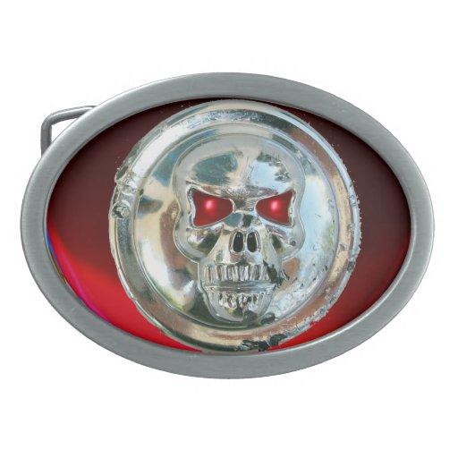 CHROME SKULL / Red Ruby Oval Belt Buckles