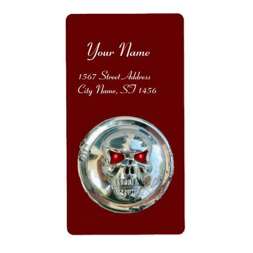 CHROME SKULL Red Shipping Label