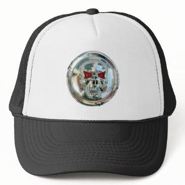 Halloween Themed CHROME SKULL TRUCKER HAT