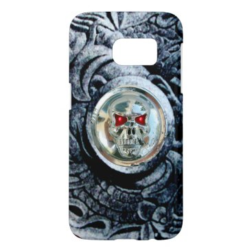 Halloween Themed CHROME SKULL WITH FANTASY GRIFFINS SAMSUNG GALAXY S7 CASE
