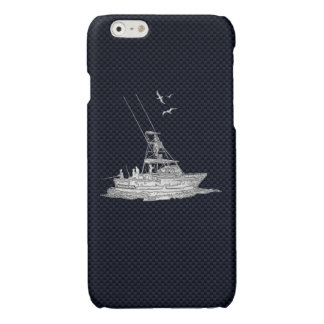 Chrome Sports Fishing on Carbon Fiber Print Glossy iPhone 6 Case