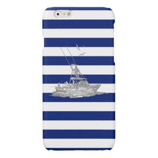 Chrome Sports Fishing Print on Navy Stripes Glossy iPhone 6 Case