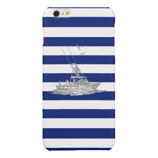 Chrome Sports Fishing Print on Navy Stripes Glossy iPhone 6 Plus Case