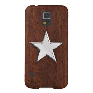 Chrome Star on Wet Mahogany Print Galaxy S5 Covers