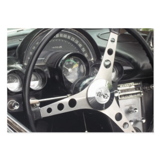 Chrome Steering wheel and black gages corvette Business Card Templates