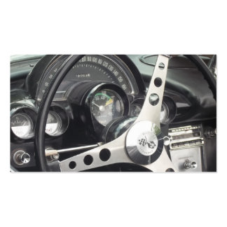 Chrome Steering wheel and black gages corvette Business Card