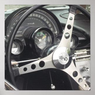 Chrome Steering wheel and black gages corvette Poster