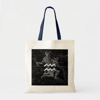 Chrome Style Aquarius Zodiac Symbol on Hevelius Tote Bag