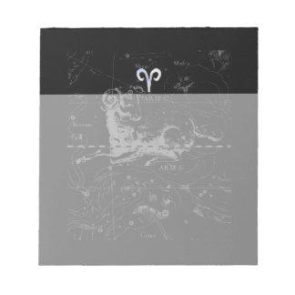 Chrome Style Aries Zodiac Sign on Hevelius Notepad