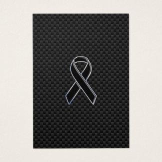 Chrome Style Black Ribbon Awareness Carbon Fiber Business Card