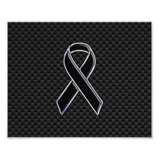 Chrome Style Black Ribbon Awareness Carbon Fiber Photographic Print