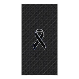 Chrome Style Black Ribbon Awareness Card