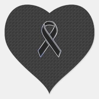 Chrome Style Black Ribbon Awareness Decor Heart Sticker