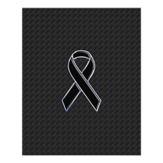 Chrome Style Black Ribbon Awareness Flyer