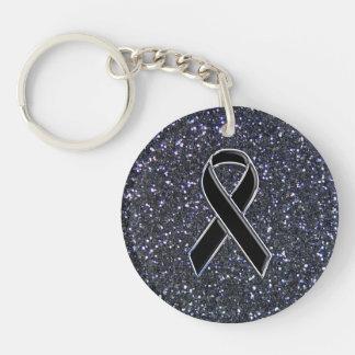 Chrome Style Black Ribbon Awareness Glitter Print Double-Sided Round Acrylic Keychain