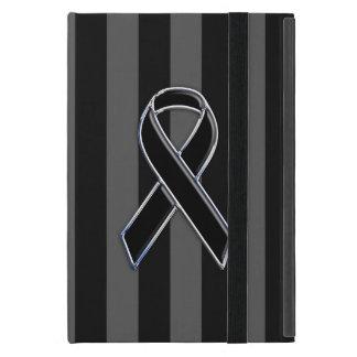 Chrome Style Black Ribbon Awareness iPad Mini Case