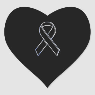 Chrome Style Black Ribbon Awareness on Black Heart Sticker