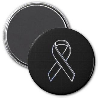 Chrome Style Black Ribbon Awareness on Black Magnet