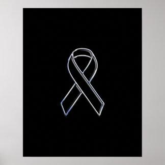 Chrome Style Black Ribbon Awareness Poster