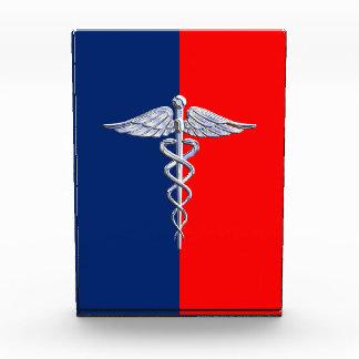 Chrome Style Caduceus Medical Symbol League Acrylic Award
