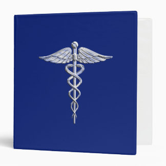 Chrome Style Caduceus Medical Symbol on Navy Blue Binder