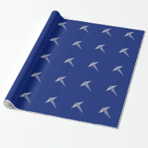 Chrome Style Caduceus Medical Symbol on Navy Blue Wrapping Paper