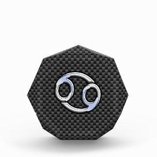 Chrome Style Cancer Zodiac Sign Carbon Fiber Print Acrylic Award