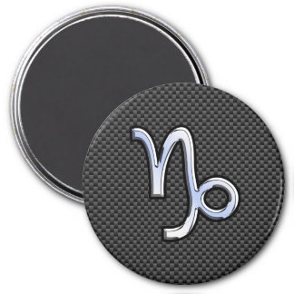 Chrome Style Capricorn Zodiac Sign on Carbon Fiber 3 Inch Round Magnet