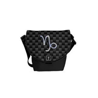 Chrome Style Capricorn Zodiac Sign on Carbon Fiber Messenger Bag