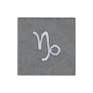 Chrome Style Capricorn Zodiac Sign on Carbon Fiber Stone Magnet