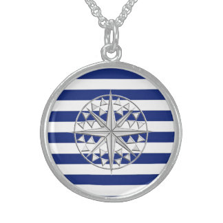 Chrome Style Compass on Nautical Stripes Sterling Silver Necklace