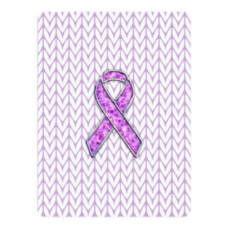 Chrome Style Crystal Pink Ribbon Awareness Knit Card