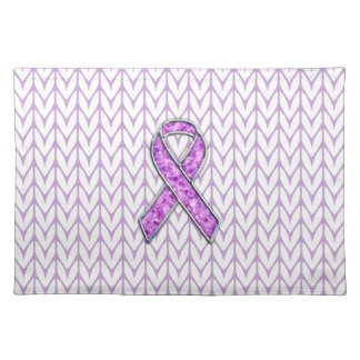 Chrome Style Crystal Pink Ribbon Awareness Knit Cloth Placemat