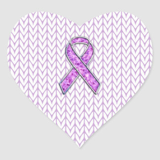 Chrome Style Crystal Pink Ribbon Awareness Knit Heart Sticker