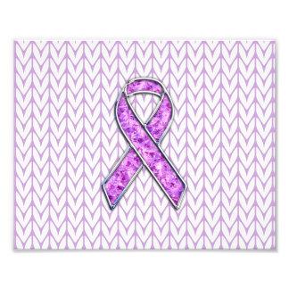 Chrome Style Crystal Pink Ribbon Awareness Knit Photo Print