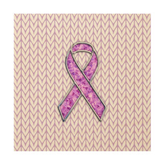 Chrome Style Crystal Pink Ribbon Awareness Knit Wood Print