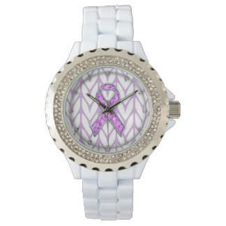 Chrome Style Crystal Pink Ribbon Awareness Knit Wristwatches
