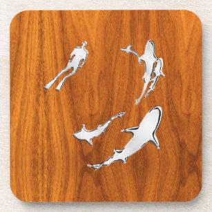 Chrome Style Diver with Sharks on Teak Veneer Beverage Coaster
