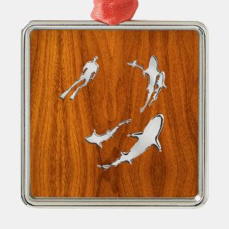 Chrome Style Diver with Sharks on Teak Veneer Metal Ornament