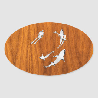Chrome Style Diver with Sharks on Teak Veneer Oval Sticker